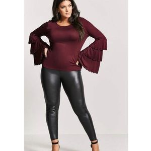 Forever 21 Plus Size Red Bell Sleeve Slub Knit Top